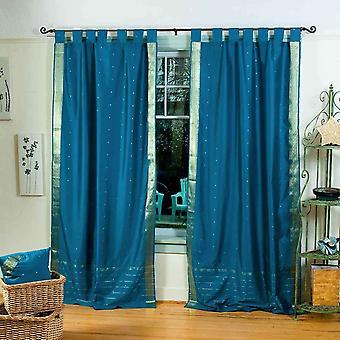 Turquoise  Tab Top  Sheer Sari Curtain / Drape / Panel  - Pair