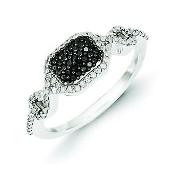 Sterling Silver Polished Gift Boxed Rhodium-plated Black and Whtie Diamond Ring - Ring Size: 6 to 8