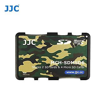 JJC Mini Memory Card Holder for 2 x SD, SDHC, SDXC Cards + 4 x microSD/SDHC/SDXC Cards (Camouflage)