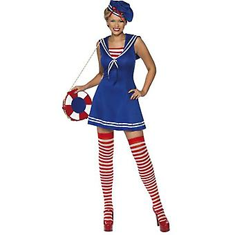 Smiffys Sailor Cutie Costume Blue Dress Beret And Stockings (Costumes)