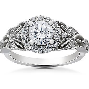 1 3 / 8ct Diamond Halo Solitaire uitstekende verlovingsring 14K White Gold