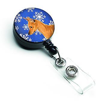 Min Pin Winter Snowflakes Holiday Retractable Badge Reel
