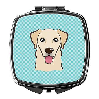 Carolines Treasures  BB1190SCM Checkerboard Blue Golden Retriever Compact Mirror