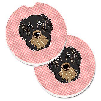 لوح شطرنج الوردي ذي الشعر الطويل الأسود وتأن الكلب الألماني مجموعة من الساحل سيارة حامل الكأس 2