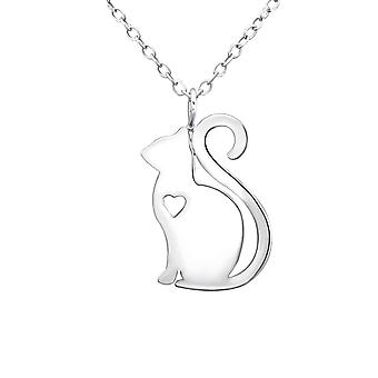 Katze - 925 Sterling Silber Plain Halsketten - W30877x