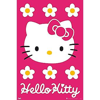 こんにちはキティのピンクの背景ポスター ポスター印刷