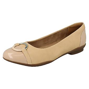 Ladies Clarks Ballerina Flat With Ring Detail Neenah Vine - Nude Combi - UK Size 5.5E - EU Size 39 - US Size 8W