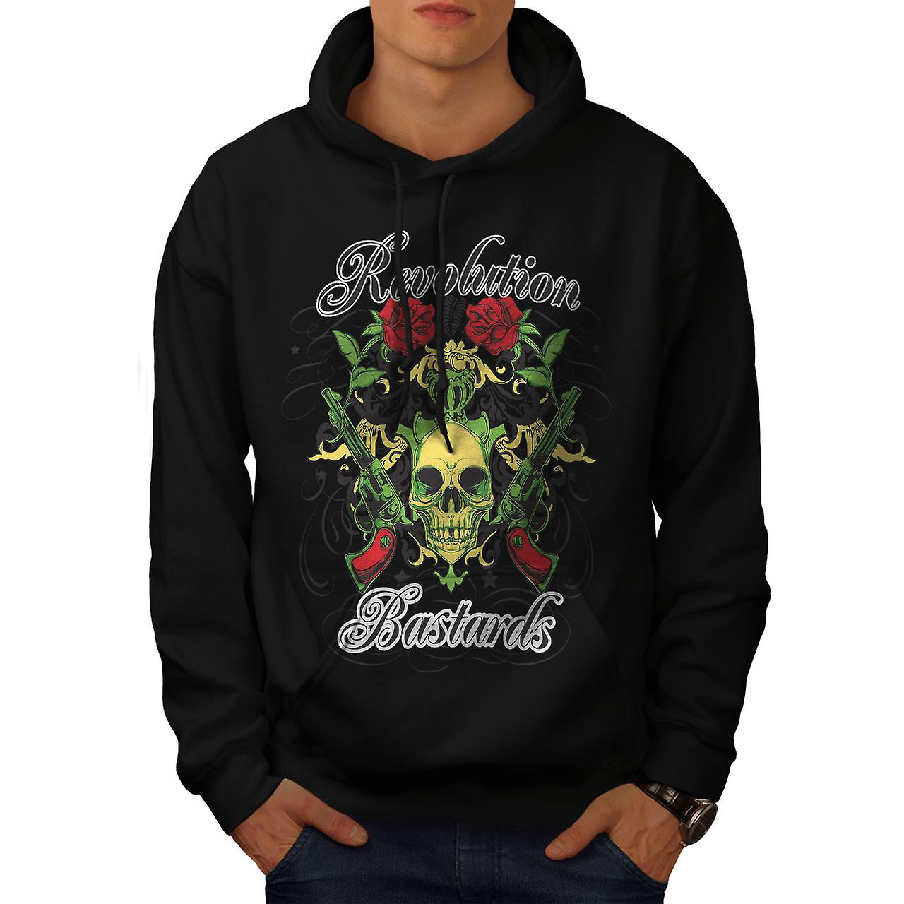 Revolution Bastards Skull Men Black Hoodie | Wellcoda