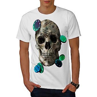 Skull Money Poker Men WhiteT-shirt | Wellcoda