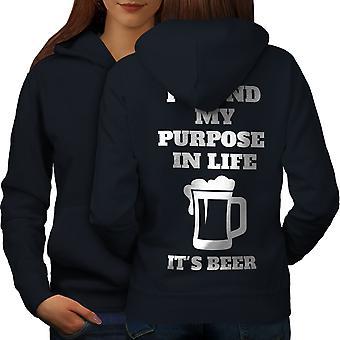 Zweck Leben Bier lustige Frauen NavyHoodie zurück | Wellcoda