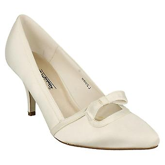 Ladies Womens Ivory Satin Wedding Bridal Slip On Bow Courts Shoes