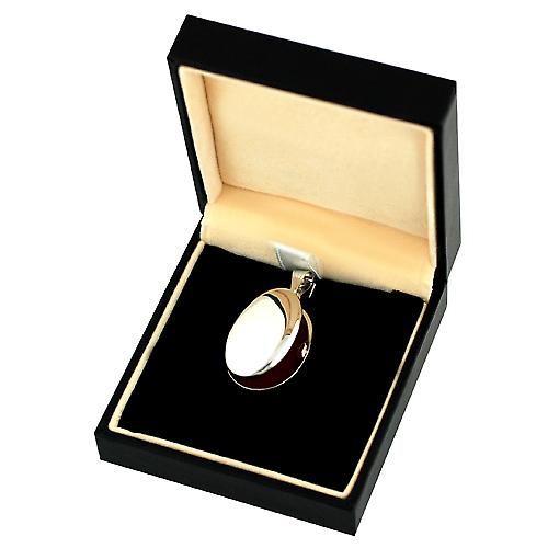 9ct White Gold 27x20mm plain oval Locket