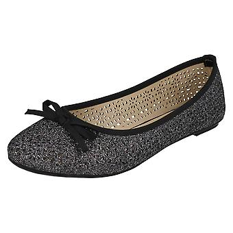 Ladies Spot On Punched Design Ballerinas F80376