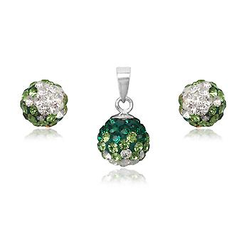 Jewelry pendant and earrings Crystal green and Silver 925