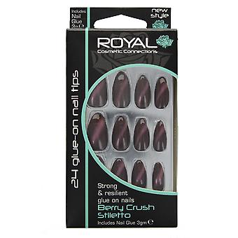 Royal 24 Glue-On Strong & Resilient Nail Tips-Berry Crush Stiletto