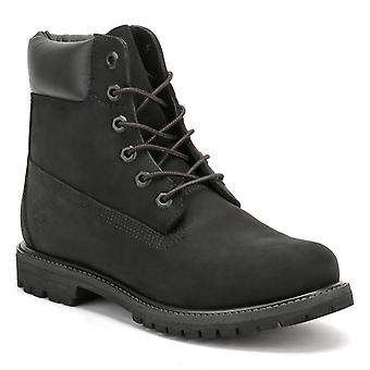 Timberland Womens 6 Inch Premium Black Nubuck Leather Boots
