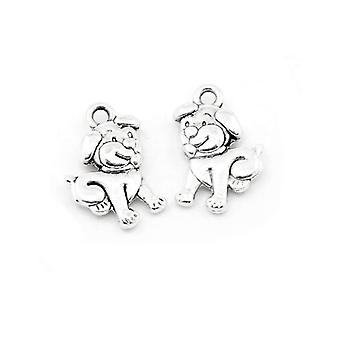 Packet 20 x Antique Silver Tibetan 17mm Dog Charm/Pendant HA08480