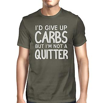 Carbs Quitter Mens Cool Grey Funny Workout Tee Crewneck T-Shirt