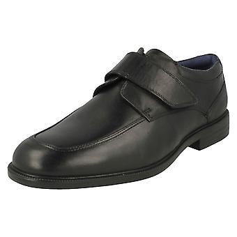 Mens Padders Formal Hook & Loop Fastening Shoes Brent - Black Leather - UK Size 8.5G - EU Size 43 - US Size 9.5