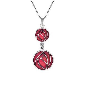 Enamelled Rhodium Plated Celtic Double Drop Mackintosh Red Rose Chain Pendant