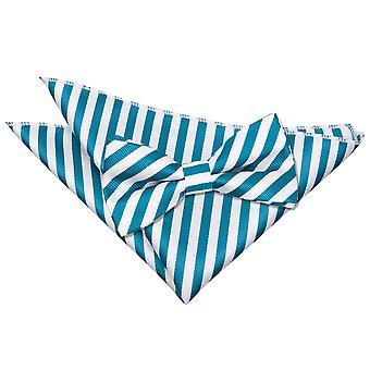 Witte & Teal Thin Stripe strikje & zak plein instellen