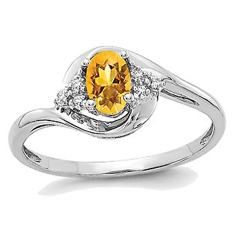 2/5 Carat (ctw) Solitaire Citrine Ring in 14K White Gold with Accent Diamonds