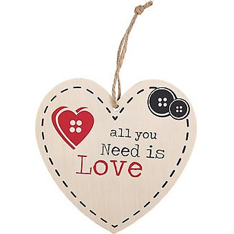 Something Different All You Need Is Love Hanging Heart Sign