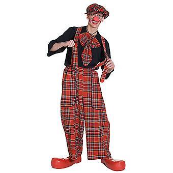 Traje de Clownkostüm de calças clochard jardineira Clownhose xadrez para homens