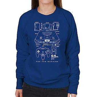 Nintendo 64 N64 Games Console Patent Blueprint Women's Sweatshirt