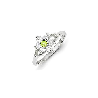 Sterling Silver Solid Polished Peridot and Cubic Zirconia Ring - Ring Size: 7 to 8
