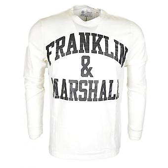 Franklin & Marshall Jersey Round Neck Printed Long Sleeve White T-shirt