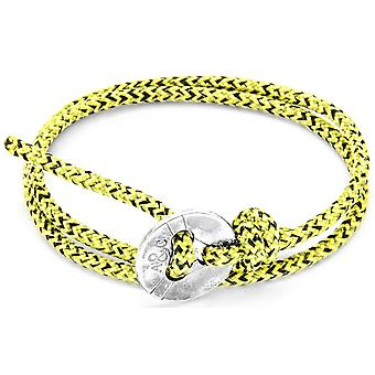 Anchor and Crew Lerwick Silver and Rope Bracelet - Yellow Noir