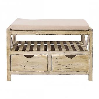 Vintage-Style Bench With Upholstered Seat-Re4451-Rebecca's Furniture