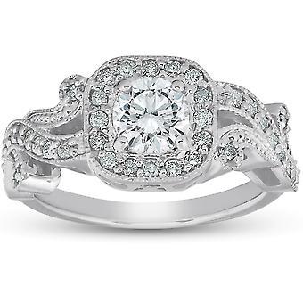 1 ct diamant Vintage pude Halo vin Band Engagement Ring 14k hvidguld