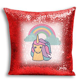 i-Tronixs - Unicorn Printed Design Red Sequin Cushion / Pillow Cover for Home Decor - 3