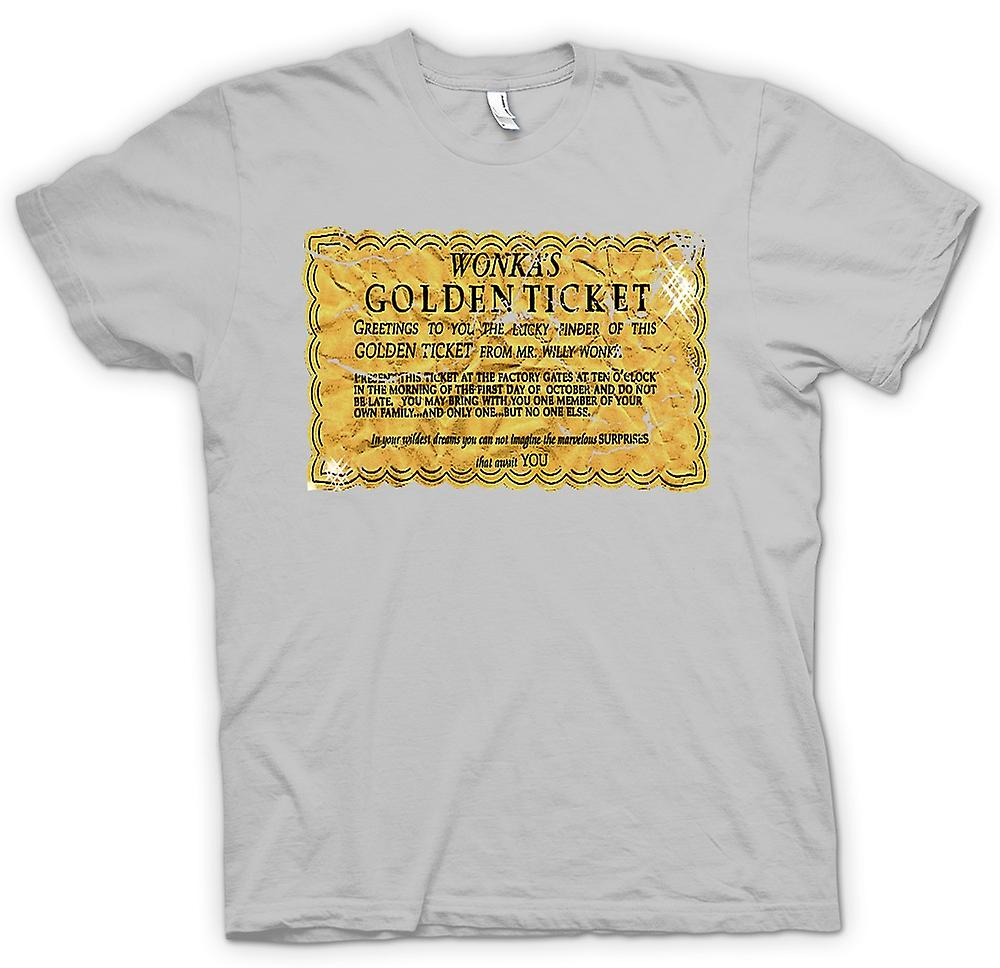 Mens t-shirt - Willy Wonka Golden Ticket - Funny