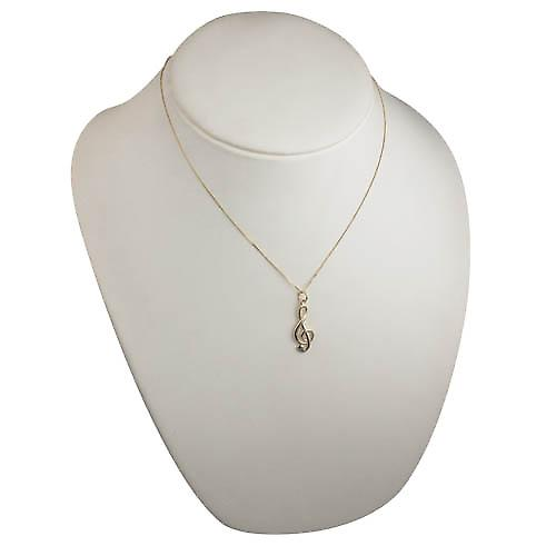 9ct Gold 25x8mm wire G Cleff Pendant with a curb chain
