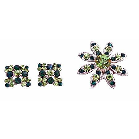 Peridot Emerald Green Crystals Round Brooch with Matching Earrings