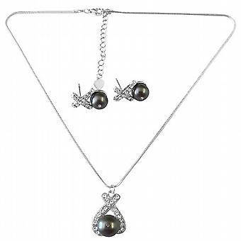 Graciösa halsband Set i mörk grå pärla hänge & Stud Örhängen Set