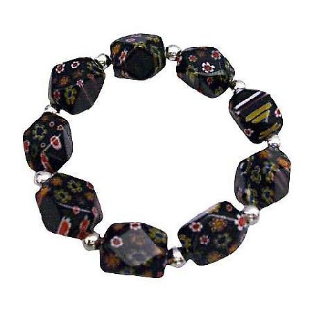 Black Millefiori Bracelet Stretch Bracelet