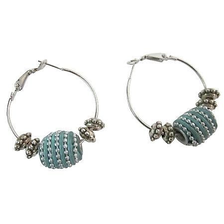 Boho Earrings Unique Tribal Bead Hoop Earrings