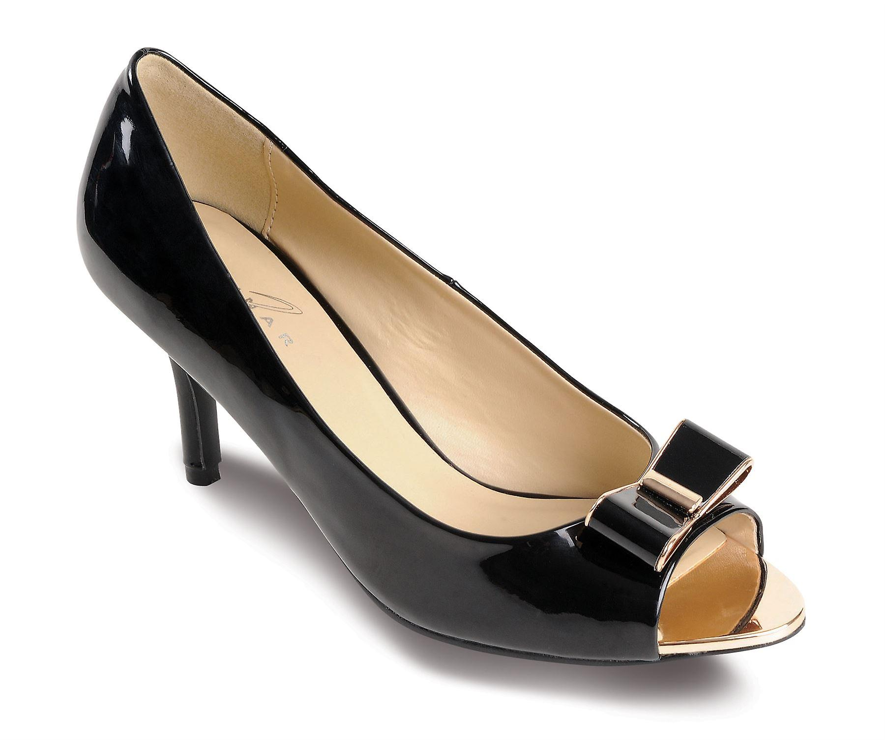 Ladies Kitten Heel Patent Bow Gold Contrast Women's Peep Toe Smart Shoes