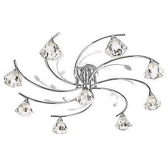 Sierra chroom en glas negen licht semi-Flush plafondlamp - zoeklicht 2639-9CC