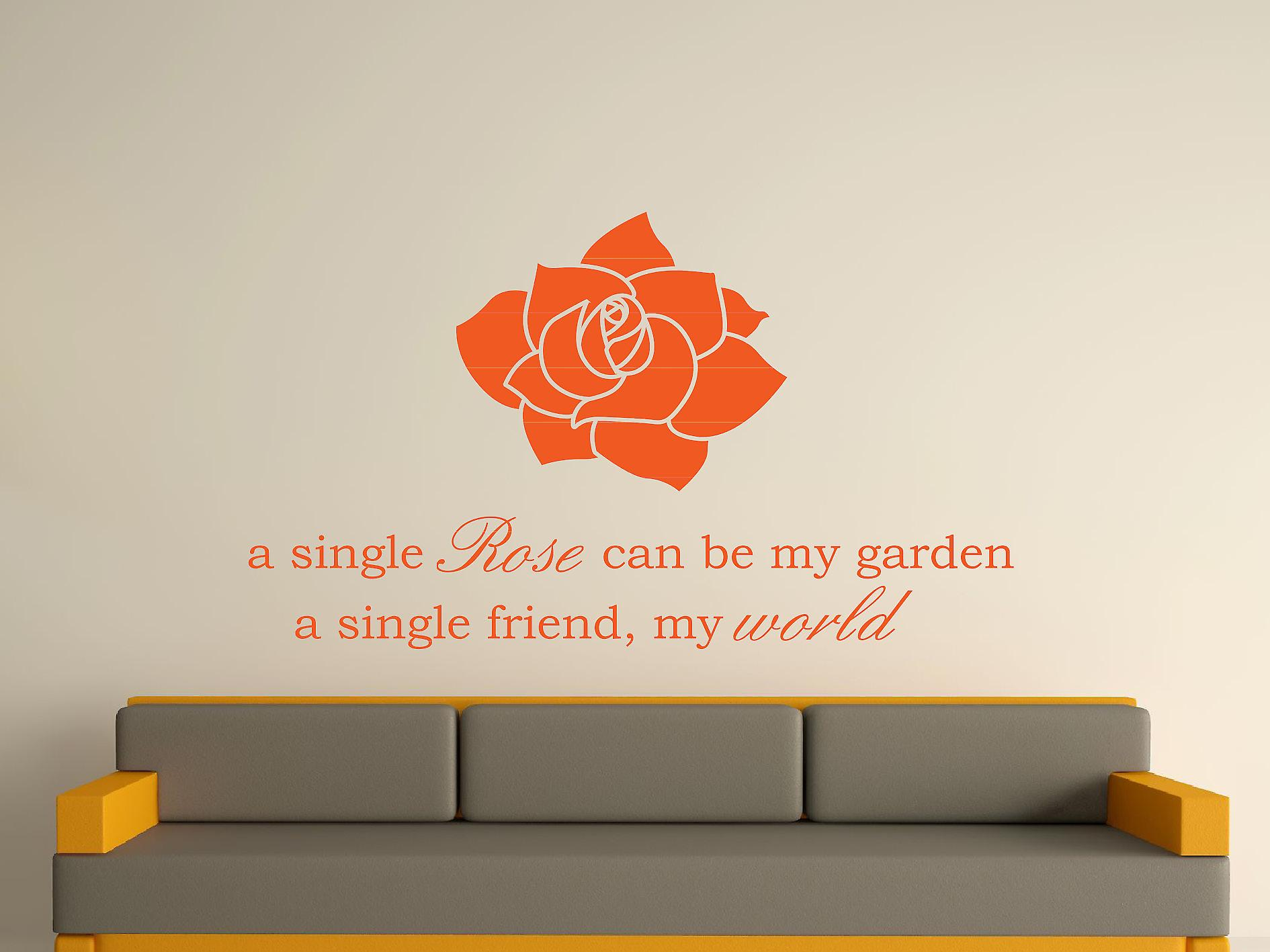 A Single Rose Wall Art Sticker - Orange