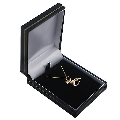 9ct Gold 15x22mm galloping Horse Pendant with a curb Chain 16 inches Only Suitable for Children