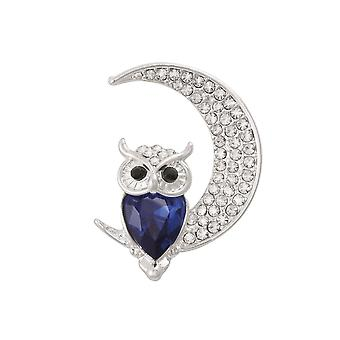 Eternal Collection Owl On The Moon Silver Tone Crystal Brooch