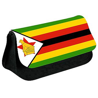 Zimbabwe Flag Printed Design Pencil Case for Stationary/Cosmetic - 0197 (Black) by i-Tronixs