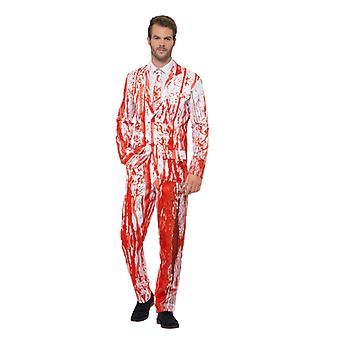 Blood Drip Suit blutverschmiert Anzug weiss Herren Halloween Horror Kostüm