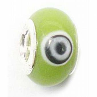TOC BEADZ Lime Retro 8mm Glass Slide-on Bead
