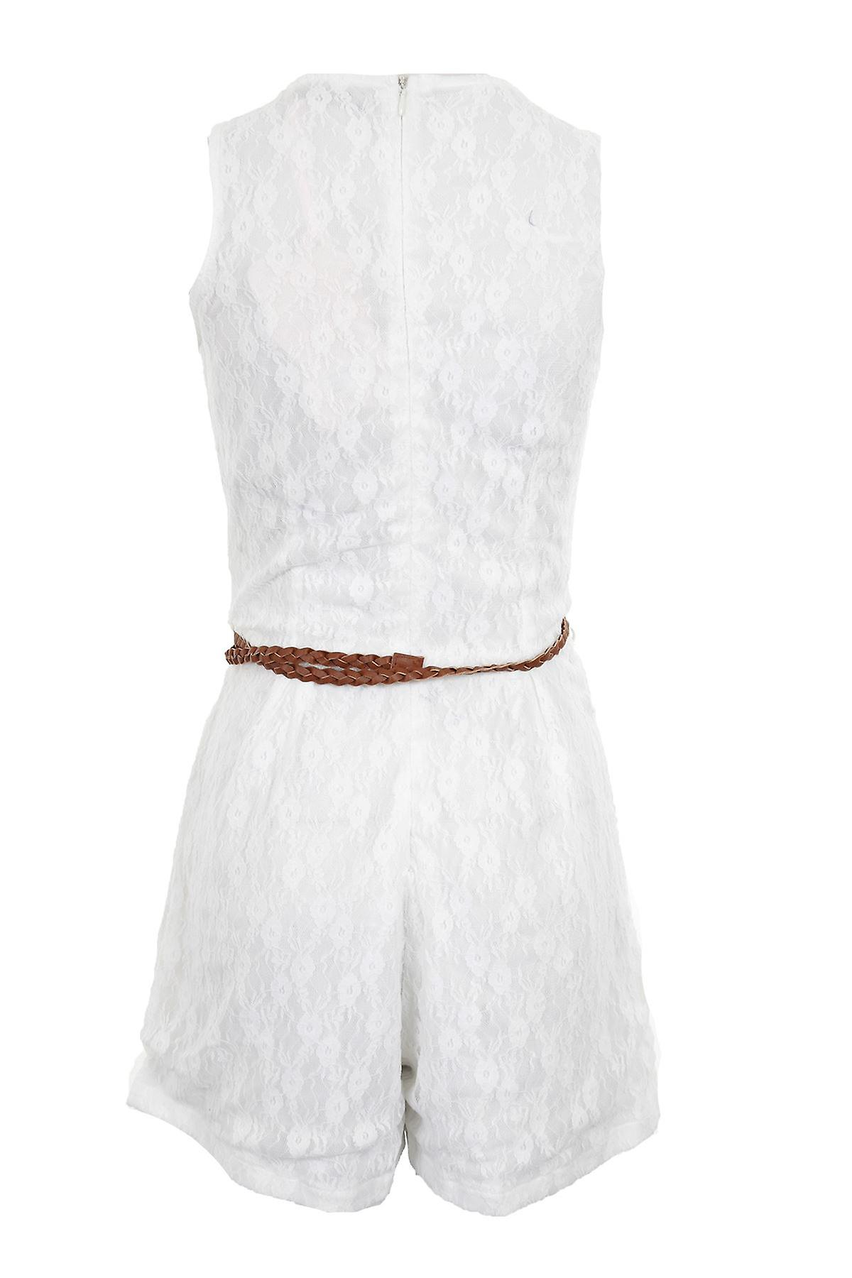 Ladies Sleeveless Cream Black Lace Lined Belted Dress Zip Belt Women's Playsuit